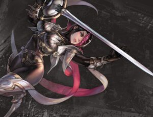 Rating: Safe Score: 51 Tags: aoin armor bodysuit fiora league_of_legends sword thighhighs User: Anemone