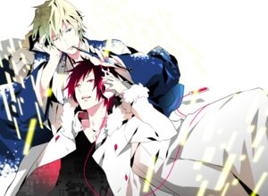 Rating: Safe Score: 13 Tags: durarara!! headphones heiwajima_shizuo kimono male mog orihara_izaya User: Amperrior