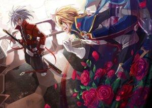 Rating: Safe Score: 8 Tags: blazblue heterochromia kisaragi_jin male ragna_the_bloodedge selenoring sword User: charunetra