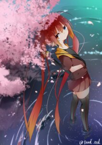 Rating: Safe Score: 13 Tags: heterochromia pointy_ears red_(id3283372) signed sword thighhighs wet User: Brufh
