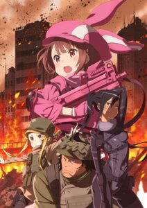 Rating: Safe Score: 6 Tags: asougi_goushi bodysuit gun kohiruimaki_karen pitohui possible_duplicate shinohara_miyu sword_art_online_alternative:_gun_gale_online tagme tattoo uniform User: Kirito_online