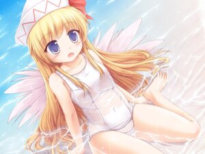 Rating: Questionable Score: 43 Tags: lily_white loli lzh see_through swimsuits touhou wet wet_clothes wings User: 椎名深夏