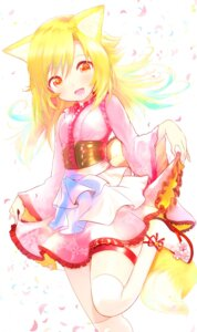 Rating: Safe Score: 4 Tags: animal_ears garter kitsune naomi_(sekai_no_hate_no_kissaten) skirt_lift tail thighhighs User: Mr_GT