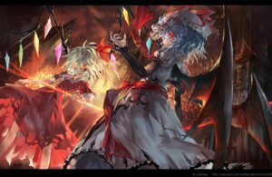 Rating: Safe Score: 37 Tags: avamone dress flandre_scarlet remilia_scarlet torn_clothes touhou weapon wings User: Mr_GT