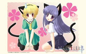 Rating: Safe Score: 16 Tags: animal_ears furude_rika higurashi_no_naku_koro_ni houjou_satoko nekomimi nekoneko pantyhose seifuku tail wallpaper User: Velen