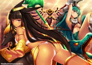 Rating: Questionable Score: 90 Tags: animal_ears armor ass azir blood erect_nipples kaho_okashii league_of_legends nasus pantsu renekton underboob weapon User: fairyren