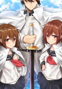 Rating: Safe Score: 17 Tags: 28aarts admiral_(kancolle) ikazuchi_(kancolle) inazuma_(kancolle) kantai_collection seifuku sword User: mash