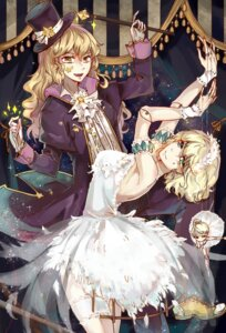 Rating: Safe Score: 16 Tags: aili_(aliceandoz) alice_margatroid dress garter kirisame_marisa no_bra see_through touhou weapon User: charunetra