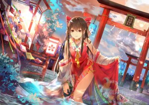 Rating: Questionable Score: 59 Tags: hakurei_reimu japanese_clothes ming_qi_bibi skirt_lift touhou wet User: Mr_GT