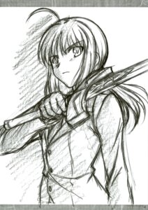 Rating: Safe Score: 8 Tags: business_suit club40 fate/stay_night fate/zero ishihara_megumi monochrome saber sketch User: Velen