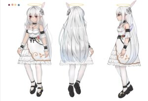 Rating: Safe Score: 10 Tags: angel character_design cleavage dress heels linz no_bra pointy_ears sketch tattoo thighhighs wings User: whitespace1