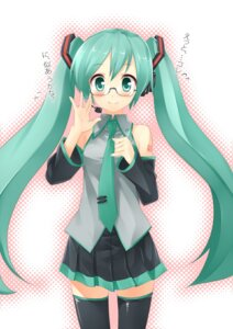 Rating: Safe Score: 18 Tags: hatsune_miku megane pino_(birthdayparty) thighhighs vocaloid User: Radioactive