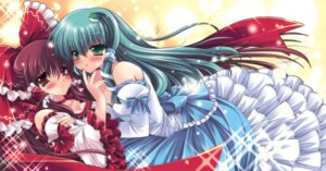 Rating: Safe Score: 29 Tags: cleavage dress hakurei_reimu kochiya_sanae sakurano_ruu touhou yuri User: fireattack