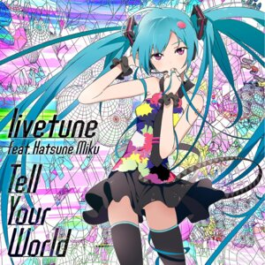 Rating: Safe Score: 50 Tags: disc_cover fantasista_utamaro hatsune_miku mebae tell_your_world_(vocaloid) thighhighs vocaloid User: blooregardo