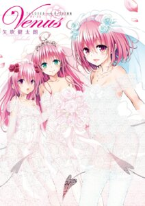 Rating: Questionable Score: 70 Tags: bra cleavage digital_version dress lala_satalin_deviluke lingerie momo_velia_deviluke nana_asta_deviluke pantsu see_through stockings string_panties tail thighhighs to_love_ru to_love_ru_darkness wedding_dress yabuki_kentarou User: LiHaonan