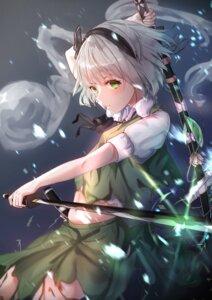 Rating: Safe Score: 27 Tags: konpaku_youmu rei_(farta_litia) skirt_lift sword torn_clothes touhou User: Mr_GT