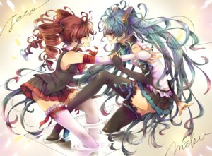Rating: Safe Score: 41 Tags: crossover garter hatsune_miku kasane_teto rojiko thighhighs utau vocaloid User: Radioactive