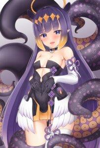 angel benedia dress hololive hololive english loli ninomae ina'nis no bra pointy ears tentacles thighhighs wings #89501