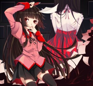 Rating: Questionable Score: 21 Tags: bakemonogatari blood dress no_bra seifuku senjougahara_hitagi shiroyurine thighhighs User: Mr_GT