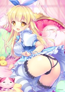 Rating: Questionable Score: 43 Tags: ass cameltoe mikeou pantsu skirt_lift thighhighs User: 桃花庵の桃花