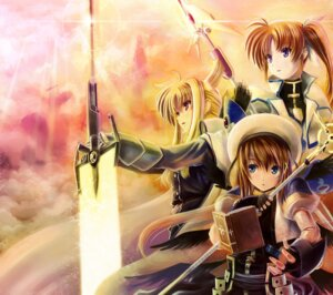 Rating: Safe Score: 28 Tags: fate_testarossa kome_(le7) mahou_shoujo_lyrical_nanoha mahou_shoujo_lyrical_nanoha_strikers sword takamachi_nanoha yagami_hayate User: Radioactive