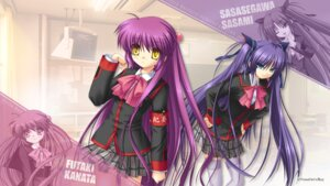 Rating: Safe Score: 11 Tags: futaki_kanata hinoue_itaru key little_busters! na-ga sasasegawa_sasami seifuku thighhighs wallpaper User: girlcelly