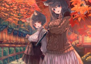 Rating: Safe Score: 19 Tags: animal_ears azur_lane breast_hold fusou_(azur_lane) nyucha sweater umbrella yamashiro_(azur_lane) User: Mr_GT