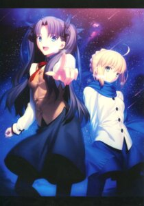 Rating: Safe Score: 22 Tags: fate/stay_night_unlimited_blade_works possible_duplicate saber takeuchi_takashi toosaka_rin type-moon User: Saturn_V