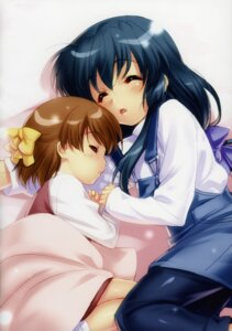 Rating: Safe Score: 7 Tags: clannad clannad_after_story dress ibuki_fuuko okazaki_ushio overalls sheets zen User: kiyoe
