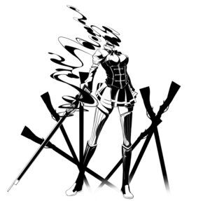 Rating: Safe Score: 16 Tags: gun jpeg_artifacts monochrome puella_magi_madoka_magica thighhighs tomoe_mami touryou User: krazy-kun