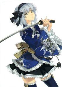 Rating: Safe Score: 63 Tags: lolita_fashion rokuwata_tomoe sword thighhighs wa_lolita User: midzki