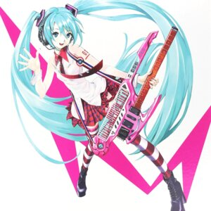 Rating: Safe Score: 43 Tags: guitar hatsune_miku headphones heels sadamoto_yoshiyuki tattoo thighhighs vocaloid User: Arkheion