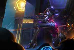 Rating: Questionable Score: 55 Tags: ass bodysuit gun heels no_bra overwatch renyu1012 tattoo widowmaker User: sylver650