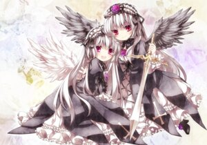 Rating: Safe Score: 63 Tags: gothic_lolita lolita_fashion moru rozen_maiden suigintou sword wings User: hobbito