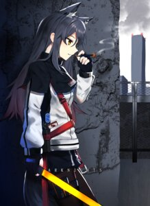 Rating: Safe Score: 13 Tags: animal_ears arknights chamnaitu smoking sword tail texas_(arknights) User: Mr_GT