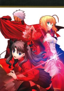Rating: Questionable Score: 13 Tags: archer fate/extra fate/stay_night saber_extra simosi takeuchi_takashi thighhighs toosaka_rin type-moon User: fireattack