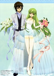 Rating: Safe Score: 50 Tags: c.c. cleavage code_geass dress lelouch_lamperouge sakou_yukie thighhighs wedding_dress User: SubaruSumeragi