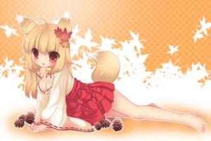 Rating: Safe Score: 34 Tags: animal_ears cleavage duji_amo miko tail User: fairyren