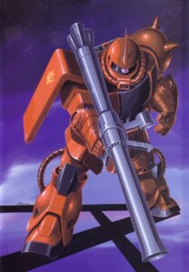 Rating: Safe Score: 3 Tags: gundam mecha mobile_suit_gundam ms-06_zaku_ii okawara_kunio User: Radioactive