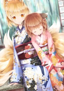 Rating: Safe Score: 43 Tags: animal_ears chen japa kimono kitsune tail touhou yakumo_ran User: Mr_GT