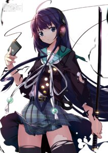 Rating: Questionable Score: 64 Tags: headphones machimura_komori seifuku sword thighhighs torn_clothes User: 桃花庵の桃花