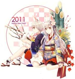 Rating: Safe Score: 25 Tags: amamizu animal_ears bike_shorts bunny_ears japanese_clothes kimono User: Amperrior
