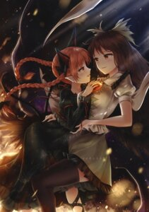 Rating: Safe Score: 32 Tags: animal_ears kaenbyou_rin minust reiuji_utsuho tail thighhighs touhou yuri User: Radioactive