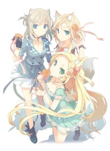Rating: Safe Score: 42 Tags: animal_ears cleavage h2so4 tail thighhighs User: Aurelia