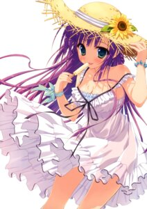 Rating: Questionable Score: 164 Tags: cleavage cream dress nopan ryohka see_through summer_dress User: StardustKnight