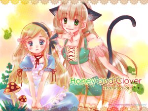 Rating: Safe Score: 6 Tags: animal_ears dress hanamoto_hagumi honey_and_clover nekomimi sara_yuuki tail wallpaper yamada_ayumi User: hobbito