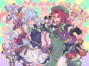Rating: Safe Score: 8 Tags: flandre_scarlet hong_meiling izayoi_sakuya koakuma morino_hon patchouli_knowledge remilia_scarlet touhou User: Radioactive