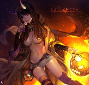 Rating: Questionable Score: 70 Tags: breasts ddongu halloween horns no_bra open_shirt thighhighs User: Mr_GT