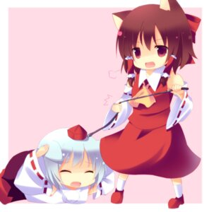 Rating: Safe Score: 13 Tags: animal_ears chibi cresc-dol hakurei_reimu inubashiri_momiji miko nekomimi touhou User: blooregardo