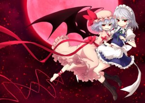 Rating: Safe Score: 18 Tags: dress izayoi_sakuya maid miruki remilia_scarlet touhou weapon wings User: Mr_GT